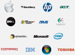 GeekMobile works with Apple, BlackBerry, HP, Acer, Dell, Microsoft Windows, ASUS, Logitech, Symantec, Microsoft, Intel, Compaq, IMB, Toshiba